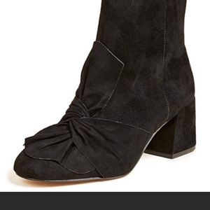Rebecca Minkoff Black bow suede boots size 8.5